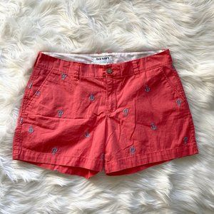Old Navy Vibrant Coral Shorts Mid Rise Blue Anchor